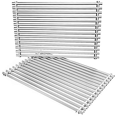 only fire Barbecue Replacement Cooking Grill Grid Grates Stainless Steel Rectangle (12.72'' x19.49'' x0.4'') fits for Weber 7528, Set of 2