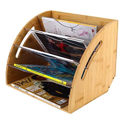 EasyPAG - Organizador de escritorio con forma de abanico para 6 revistas, bambú natural