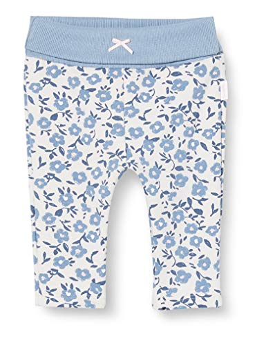 Sanetta Baby-Mädchen Ivory Hose in Weiß mit Blauem-Alloverprint im Blumendesign Kidswear, beige, 068