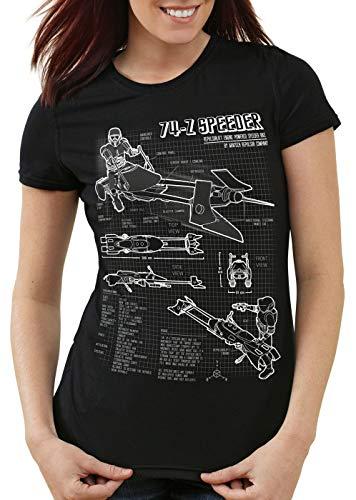 style3 74-Z Speeder Bike Damen T-Shirt Blaupause Endor, Farbe:Schwarz, Größe:2XL