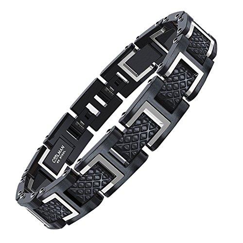 COOLMAN - Bracciale da uomo, Braccialetto in acciaio inossidabile 316L, Dimensione regolabile 20-22 cm, con GRATUITO Gift Box, Serie RacingLegend (argento + nero)