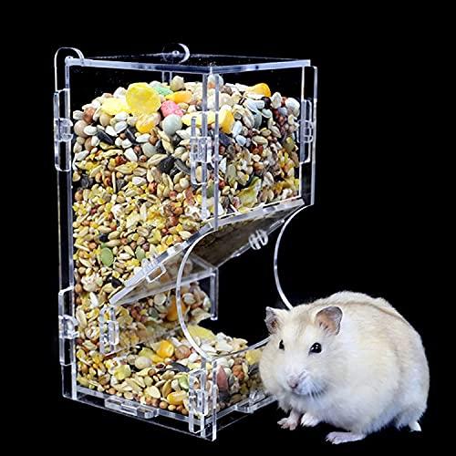 Comedero automático para hámster pequeño Animal, Alimentador de hámster automático de acrílico, Apto para Alimentar hámsteres, cobayas, Palomas, Loros, pájaros, Mini erizos