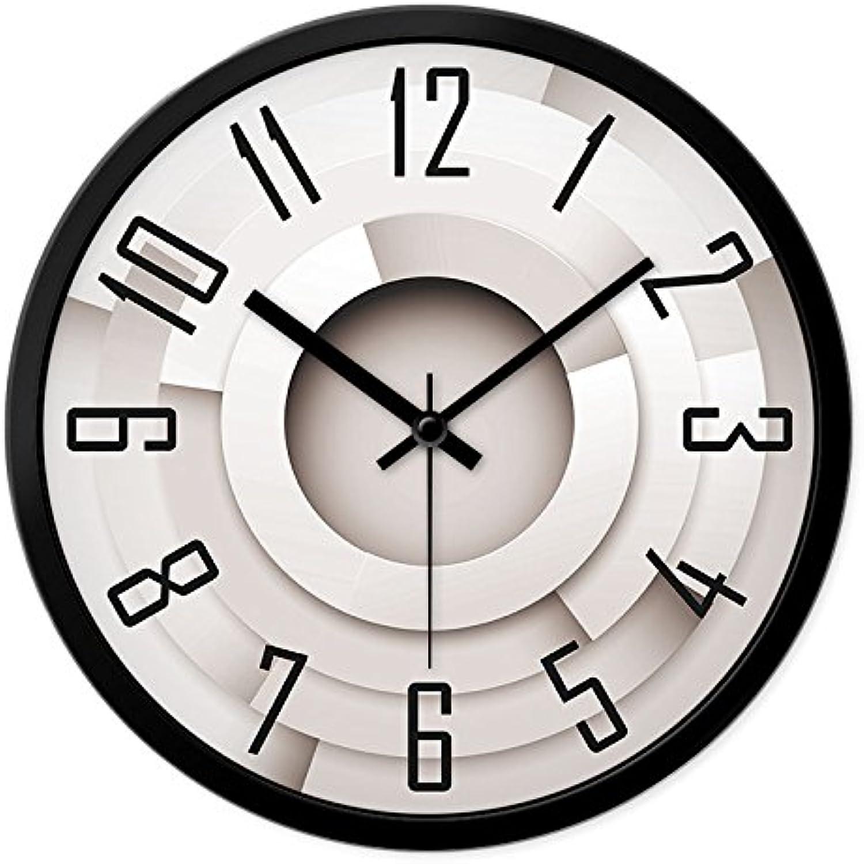 LIUXIAOJIE Reloj de Parojo de Madera Creativo, Sala de Estar, Arte, Reloj de Cuarzo silencioso, 12 Pulgadas, Marco de Metal Negro