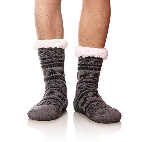 MIUBEAR Mens Thick Heavy Warm Fleece Fuzzy Winter Christmas Deer Slipper Socks (Light Gray)