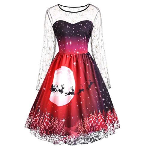 VJGOAL Robe Femmes,Christmas Party Dress Ladies Vintage éToiles Lace Noel Robe,Vintage AjouréE Cocktail Robe FR-42/CN-XL,Rouge