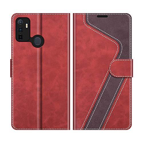 MOBESV Handyhülle für Oppo A53S Hülle Leder, Oppo A53S Klapphülle Handytasche Hülle für Oppo A53S Handy Hüllen, Modisch Rot