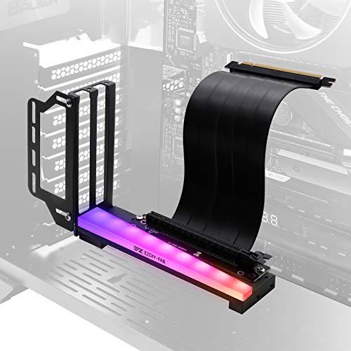 EZDIY-FAB Soporte de Soporte de Tarjeta gráfica Vertical con LED ARGB 5V 3Pin, Montaje GPU, Kit de Soporte VGA para Tarjeta de Video con Cable Vertical PCIE3.0 - Negro