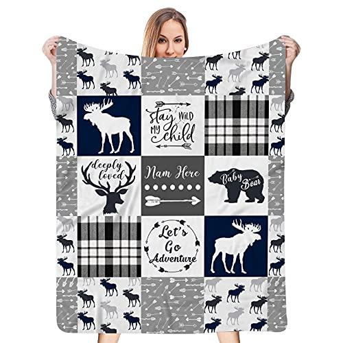 Personalized Camo Moose, Deer and Bear Woodland Minky Dot Baby Blanket for Boy Kids Girl, Custom Name Blanket