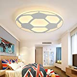 LITFAD Soccer-Patterned Dimmable LED Ceiling Light Fixture in White for Boys Bedroom,Kids Room,Children Bedroom