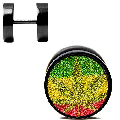 Fake Ear Plug pendientes–par negro I.P. Rasta Pot Leaf Style de papel de lija 316L acero quirúrgico