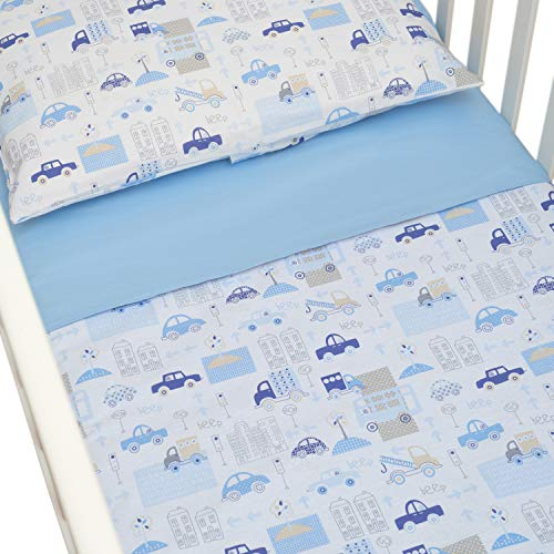 CangooCare© - Juego de sábanas de 3 piezas para cuna, ropa de cama, 60 x 120 cm, 100% algodón, sábana encimera, funda nórdica/saco doble cara, Coches