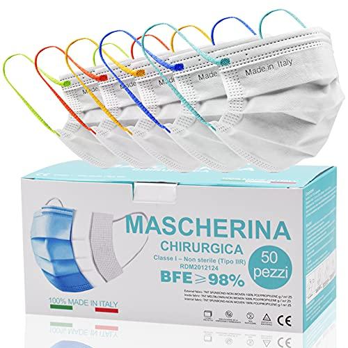 50 Stück,Medizinische Masken Mundschutz,op Masken weiß,CE Zertifiziert typ IIR mit BFE ≥ 98% Einwegmasken für Erwachsene,Bequeme und feste Ohrbänder,Bunte und modische Ohrbänder für Maske