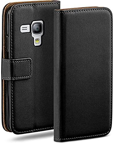 moex Klapphülle kompatibel mit Samsung Galaxy S3 Mini Hülle klappbar, Handyhülle mit Kartenfach, 360 Grad Flip Hülle, Vegan Leder Handytasche, Schwarz