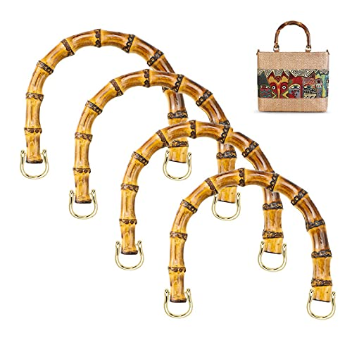LMIX 4 Pezzi Manici per Borse in Bambu, Manici Bamboo per Borse Uncinetto Artigianale, Maniglie di Ricambio Fai da Te Donna per Tote Borsette Borsa Iuta (Gancio di Oro)