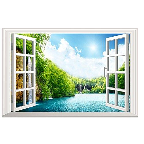 BakeLIN Wandaufkleber Wandtattoo, Emulation Landschaft 3D Wandsticker Wohnzimmer Schlafzimmer Kinderzimmer Haus Dekoration (38 x 58 cm) (38 x 58 cm, C)