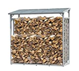 QUICK STAR ALUMINIUM firewood rack anthracite 143 x 70 x 145 cm garden firewood shelter 1.4 m³ firewood storage stacking aid outside