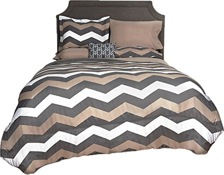 Beco Home Comforter, Chevron (Grey Taupe), Twin, Twin Twin XL