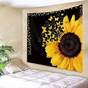 AMBZEK Black Yellow Sunflower Tapestry 51Hx59W Inch Girls Women Floral Butterfly Blooming Wild Flower Spring Plants Rustic Country Nature Artwork Wall Hanging Bedroom Living Room Dorm Decor Fabric