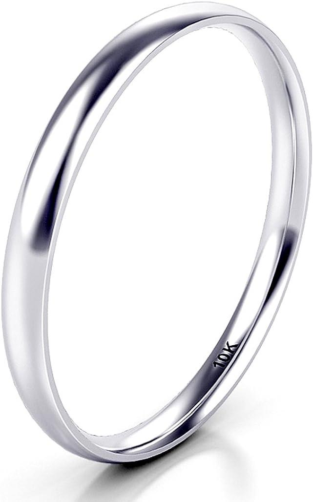 10K White/Yellow/Rose Gold 2MM Round Dome Wedding Band Ring