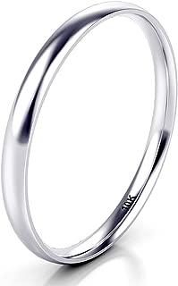 10K White/Yellow/Rose Gold 2MM Plain Dome Wedding Band Ring