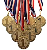 Metal 1st First Place Medals and Red White and Blue Neck Ribbons. (Pack of 10)