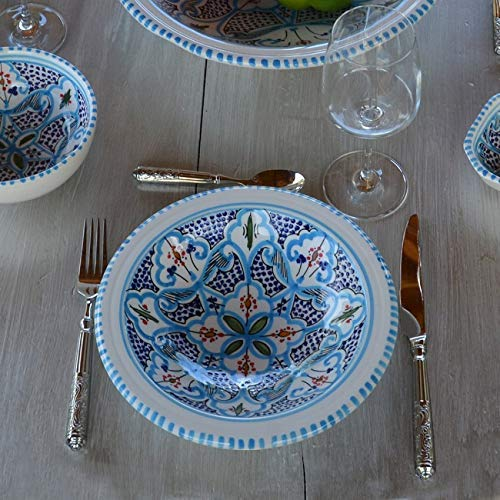 Juego de 6 platos Tebsi marroquí turquesa, 23 cm de diámetro