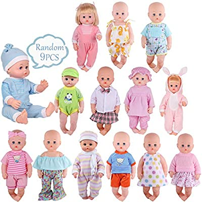Young Buds for 14-16 Inches Baby Doll Alive American Doll Clothes Dress Costumes Gown Outfits Set of 7 Christmas Birthday Gift Pretend Play Toy
