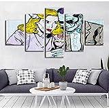 5 Panel Wandkunst Leinwand Frau Gemälde Datum Wohnkultur