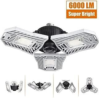 LED Garage Lights, 60W Deformable LED Garage Ceiling Lights 6000 Lumens, CRI 80 Led Shop Lights for Garage, Garage Lights with 3 Adjustable Panels, Utility Led Garage Lighting (No Motion Activated)