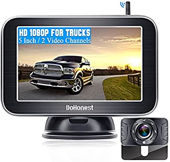 """DoHonest Wireless Backup Camera HD 1080P with 5"""" Monitor for Truck Pickup Car Minivans Small RV Rear View Camera Super Night Vision Waterproof Easy Installation Second RV Camera Available Add on-V25"""