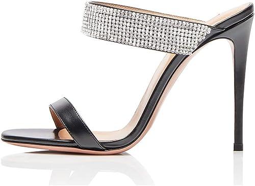zapatos Sandalias de tacón Alto de Las mujeres Hauszapatos de Cabeza rojoonda zapatos Rhinestone Vanity Vestido Oficina Sandalias de Moda mujeres negro Hauszapatos de tacón Alto