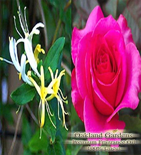 BULK Fragrance Oil - HONEYSUCKLE ROSE Fragrance Oil - A blend of sweet neroli, apple, ylang ylang and pine needles, with a top note of pink rose - By Oakland Gardens (060 mL - 2.0 fl oz Bottle)