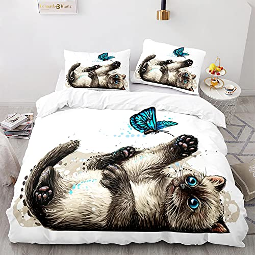 Funda Nórdica Gatos Juego de Cama Blanco Estilos Múltiples Súper Lindos Patrón de Gato Animal 3D con Funda de Almohada con Cremallera (Gato 14,Cama 150-220×240)