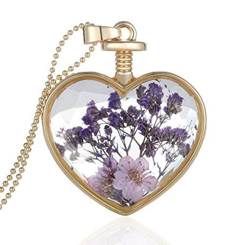 Fnito Halskette Natürliche lila getrocknete Blumen Glas Halskette anhänger Kette medaillons schmuck Herz halsketten für Frauen transparent Geschenk