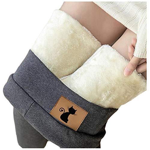 Koly-Hundebett Super Dicke Leggings Winterdicke, warme, mit Fleece gefütterte, Thermisch Dehnbare Leggingshose, große, hoch taillierte Leggings für Frauen