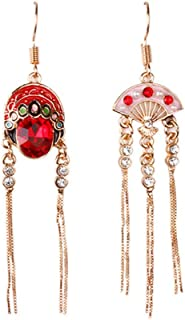 1 Pair Peking Opera Earrings Eardrop Chinese Style Earrings Diamond Rhinestone Stud Dangle Drop Earrings