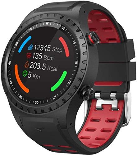 Reloj inteligente con tarjeta de 3 pulgadas, reloj inteligente con GPS, posicionamiento al aire libre, brújula, impermeable, para Android y iOS, color rojo y negro