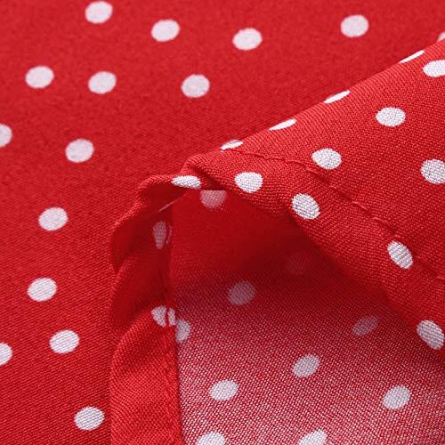 XOXSION Vestido de verano para mujer, con estampado de lunares, de manga corta, cuello en V, para la playa, elegante, de noche, bohemio, largo, para verano, para fiestas, tiempo libre, rojo, XL