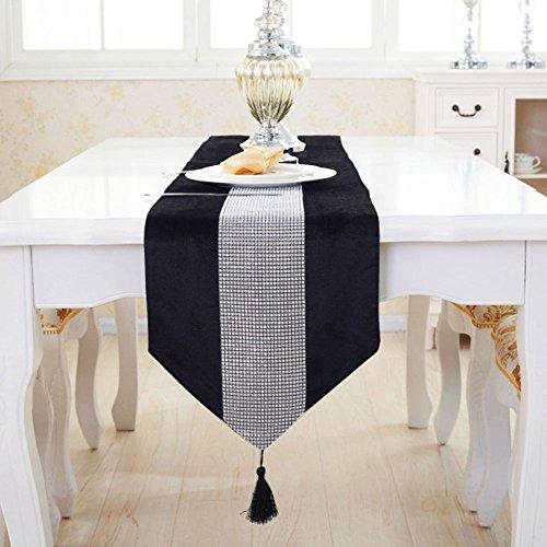 Deggodech Samt stilvolle atmosphäre minimalistischen modernen Diamanten Tischläufer/Tischdecke Couchtisch Tuch und Zwei Quasten (32 x 185 cm) (Schwarz)