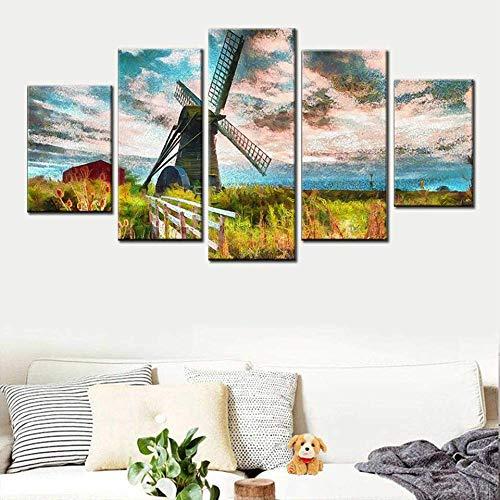 DGGDVP Nordic Canvas Modern Hd woonkamer Home Decoration Printing 5 Panelen Nederlandse windmolen landschap schilderij poster wandkunst 30x40cmx2 30x60cmx2 30x80cmx1 Met frame.