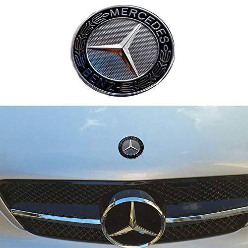 57MM Chrome Mercedes Benz Logo Flat Hood Star Emblem Badge for Mercedes Benz C E SL Class Decoration.(Black)