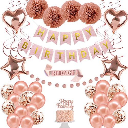Rose Gold Birthday Party Decorations Kit, Happy Birthday Bling Glitter Banner Balloons Set for Girls Women Baby Kids, 41 Pcs Bday Decor Package, Including Pom Poms Flowers Cupcake Topper