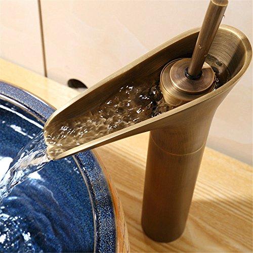 LHbox Euro Kupfer antik Glas Waschtisch Wasserfall Armatur Waschbecken Konsole Tisch antike Einloch kalt-warmes Leitungswasser