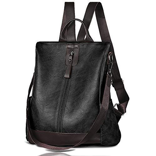 Women Backpack Waterproof Anti-theft Lightweight PU Leather Fashion Purse Shoulder Bag Travel Backpack Ladies (Black)