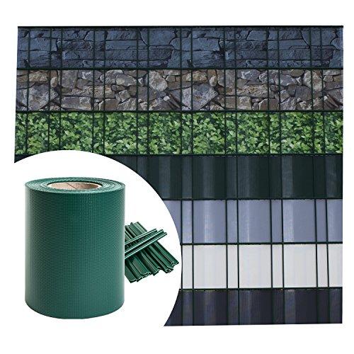 Sichtschutz PVC - Grün RAL 6005 - 35m (7m²) - Doppelstabmatten Zaunfolie Windschutz blickdicht Windschutz