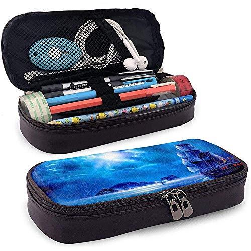 Estuche de lápices de cuero de la PU con cremallera, estuche marcador de almacenamiento de gran capacidad azul para barco, estuche para maquillaje
