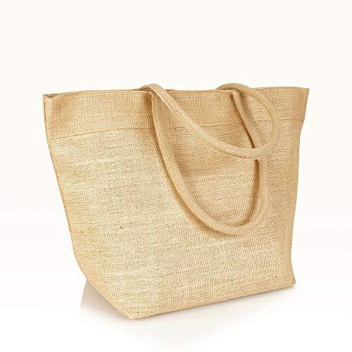 Jute statt Plastik Original | JB1415LB | Jutetasche Shopper Einkaufstasche Strandtasche Handtasche | Fair & Nachhaltig | Einkauf Shopping