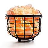 Amethya Lámpara de sal del Himalaya con roca de sal de cristal natural (en cesta de...