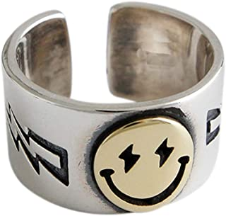 Smiling Face Statement Ring Vintage Smile Band Adjustable Open 925 Sterling Silver Fashion Ring Jewelry for Women Girls (S...