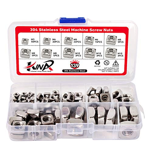 Square Machine Screw Nuts Fastener suiwotin 100PCS Zinc Plated M3 Square Nuts